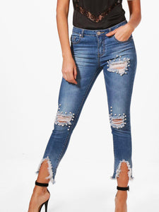 RIPPED PEARL JEANS