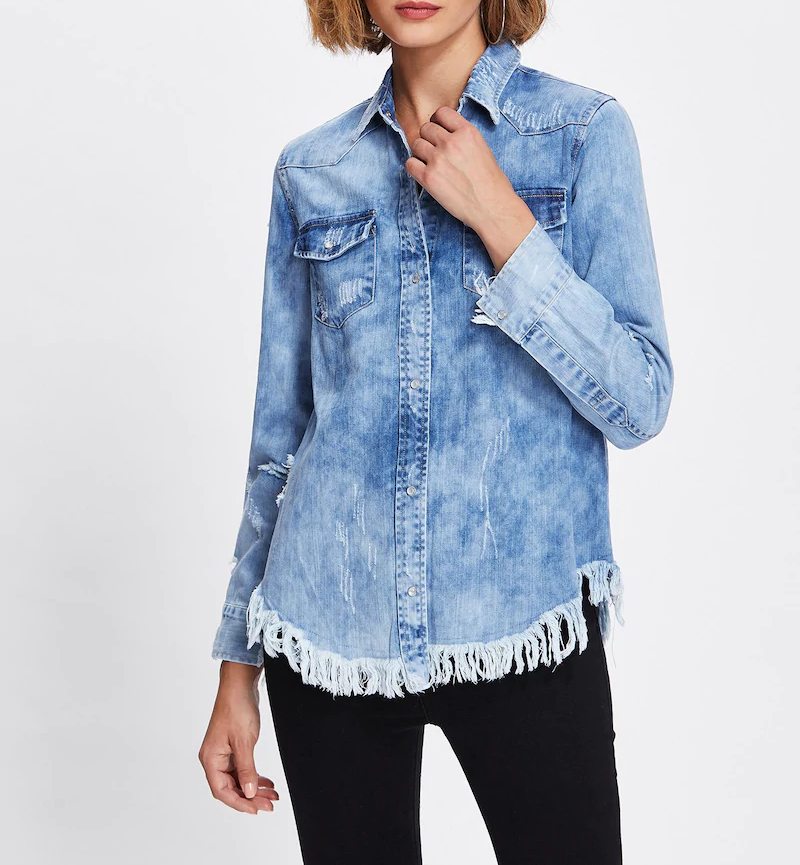 DENIM BLEACHED BUTTON BLOUSE
