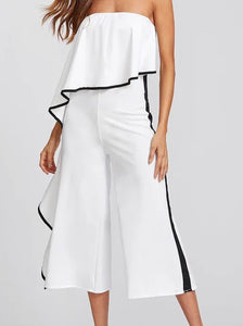 WHITE &BLACK TRIM JUMPSUIT