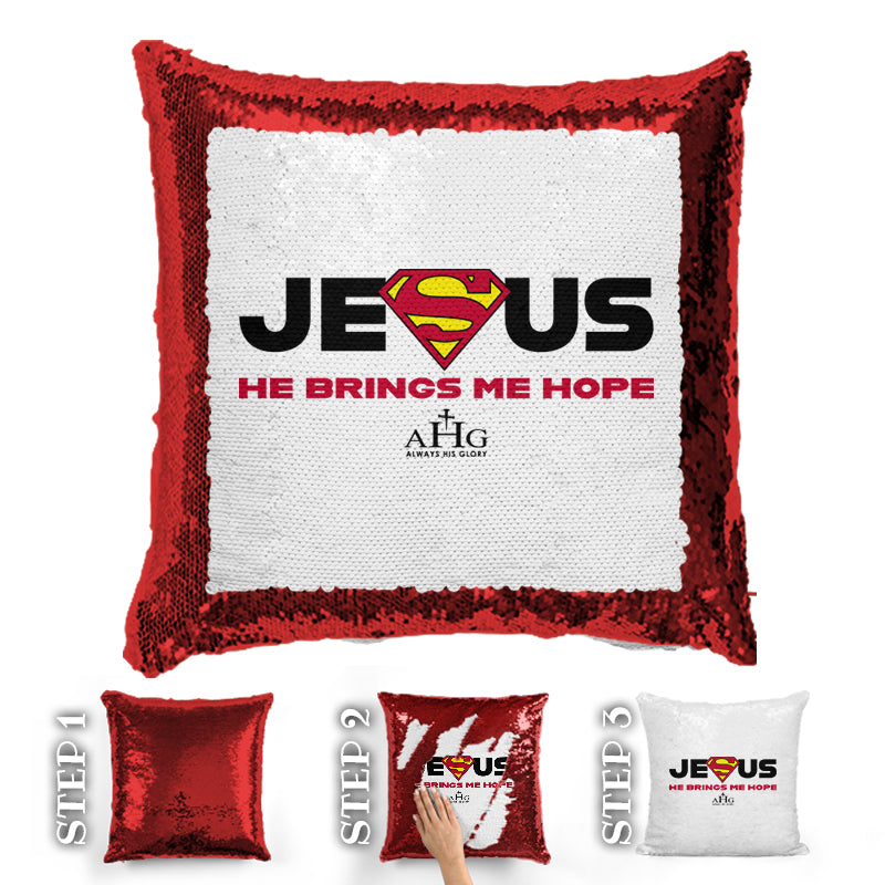 Jesus Superman Sequin Pillow