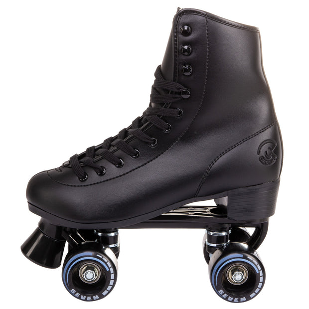 c7skates vixen quad skates for outdoor riding with retro black faux leather boot