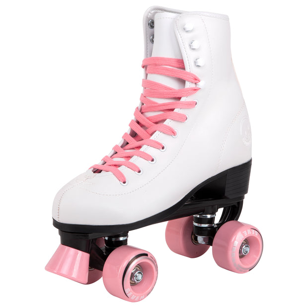 retro white roller skates with candy pink laces and wheels