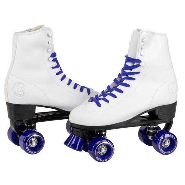retro white quad roller skates with dark blue laces and wheels
