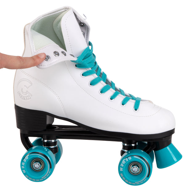 retro white quad roller skates with teal laces and wheels