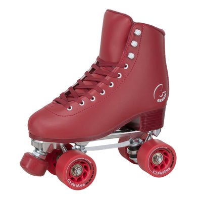 Cherrypop Quad Skates are dark red monochrome roller skates with removable toe stops, 62mm 83A wheels and a structured boot.