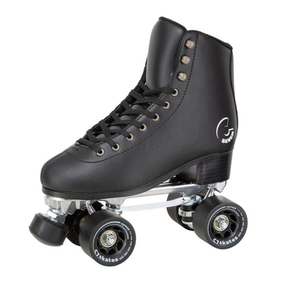 C7 Femme Fatale Quad Skates are made with black vegan leather, removable toe stops, 62mm 83A wheels and a structured boot.