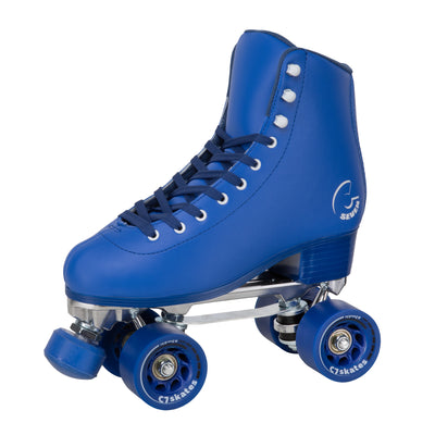 The deep blue Midsummer's Eve Quad Skates feature removable toe stops, 62mm 83A wheels and a structured boot.