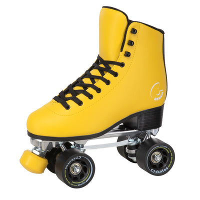 The C7skates Queen Bee Quad Skates feature a black and yellow color, removable toe stops, 62mm wheels and a structured boot.