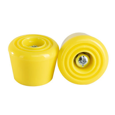 Lemon yellow C7 roller skate stoppers made from durable polyurethane PU82A dimensions are 47 by 35 mm
