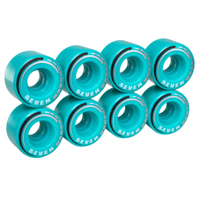 Teal C7 roller skate wheels made from durable 82A polyurethane with a 58 mm diameter and 32 mm width