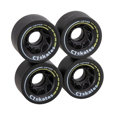 C7skates Queen Bee dark yellow roller skate wheels made from durable 83A polyurethane and a 62mm diameter