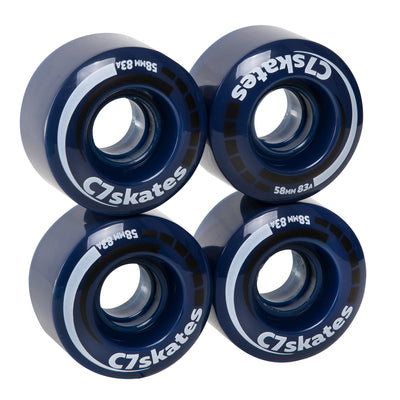 Blossom dark blue C7 roller skate wheels made from durable polyurethane PU83A 58 mm diameter