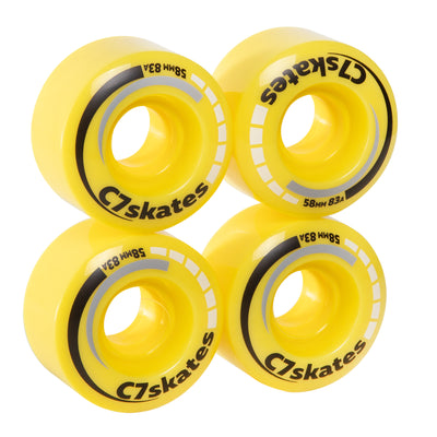 Lemonpop yellow C7 roller skate wheels made from durable polyurethane PU83A 58 mm diameter
