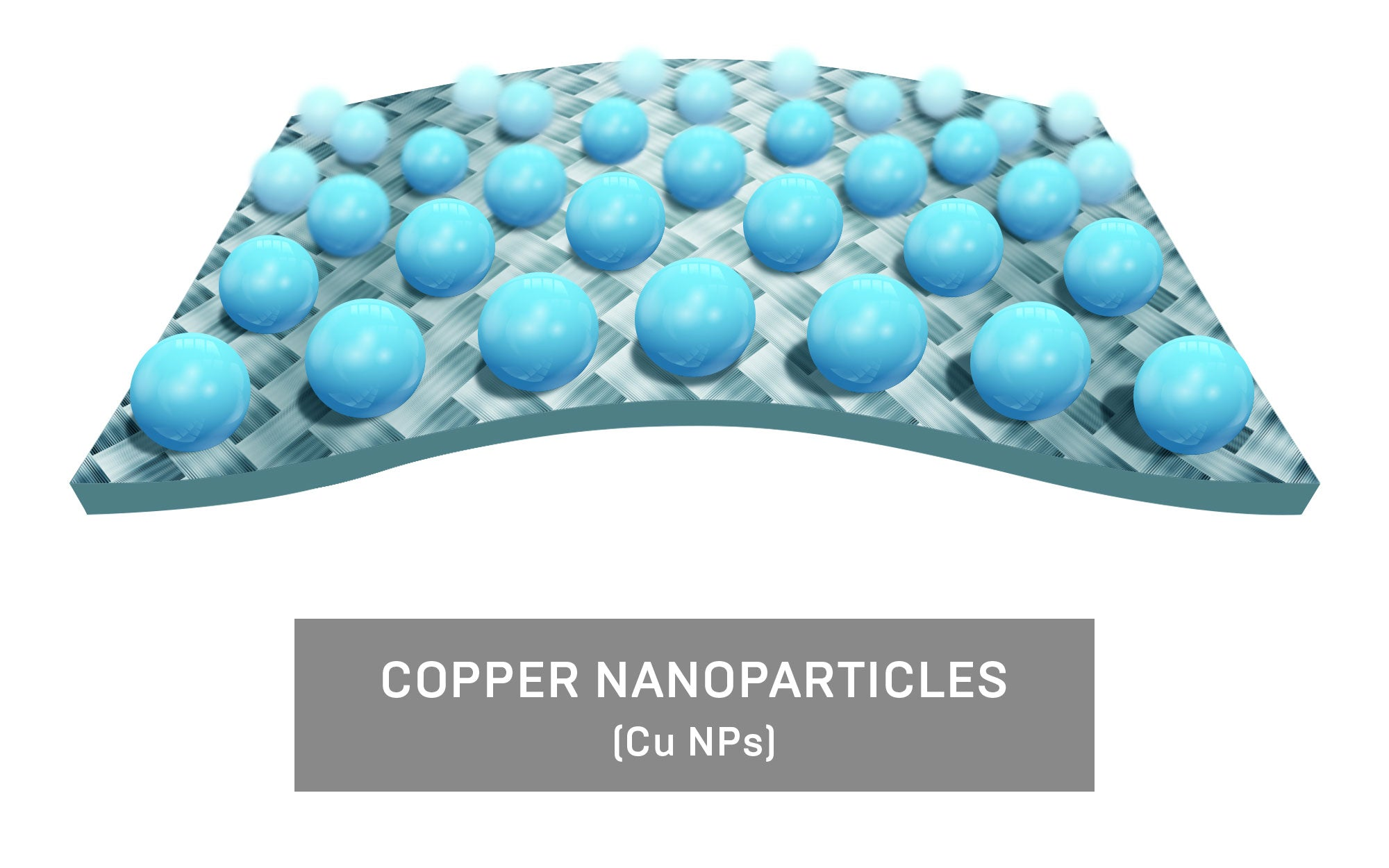 Copper (CuO) is purified to extract single Copper ions in a liquid form to infuse into fabrics.