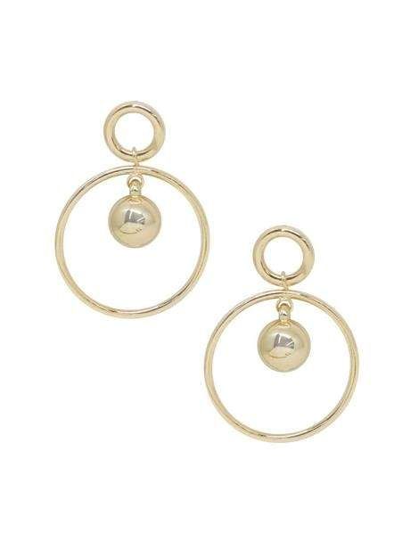 Women's 18k Gold Plated Ball Drop Hoop Earrings - My Bikini Flex