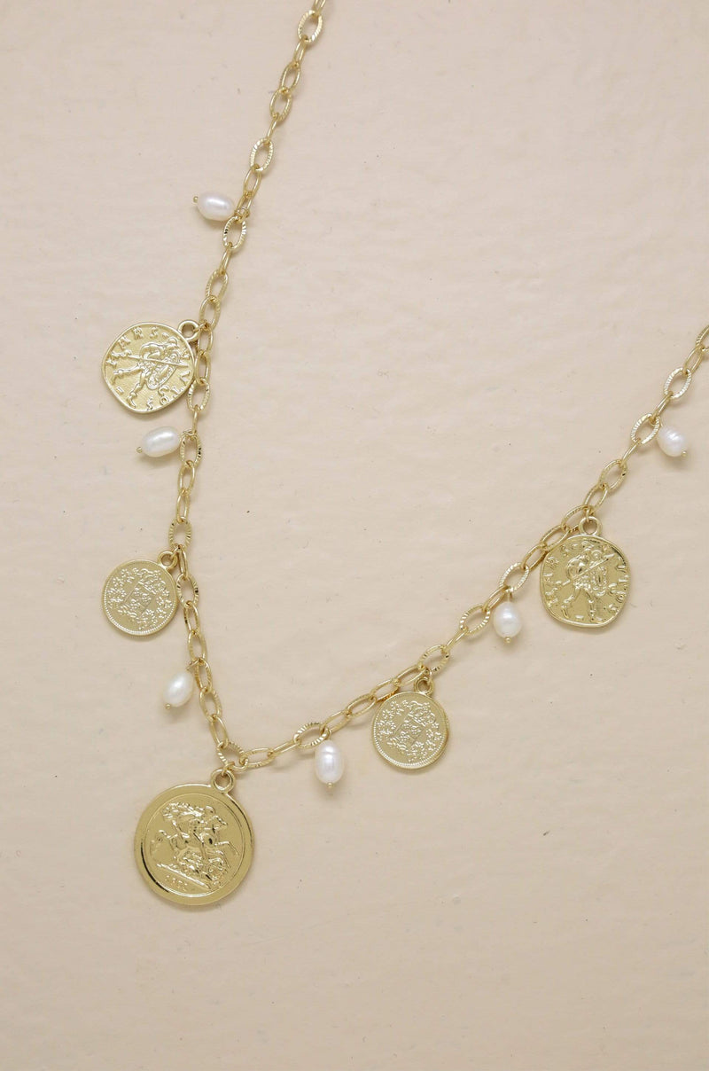 18k Gold Plated Coin and Pearl Necklace - My Bikini Flex