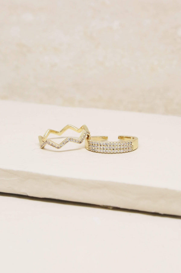 Pave Zig Zag Ring Set of 2 in Gold - My Bikini Flex