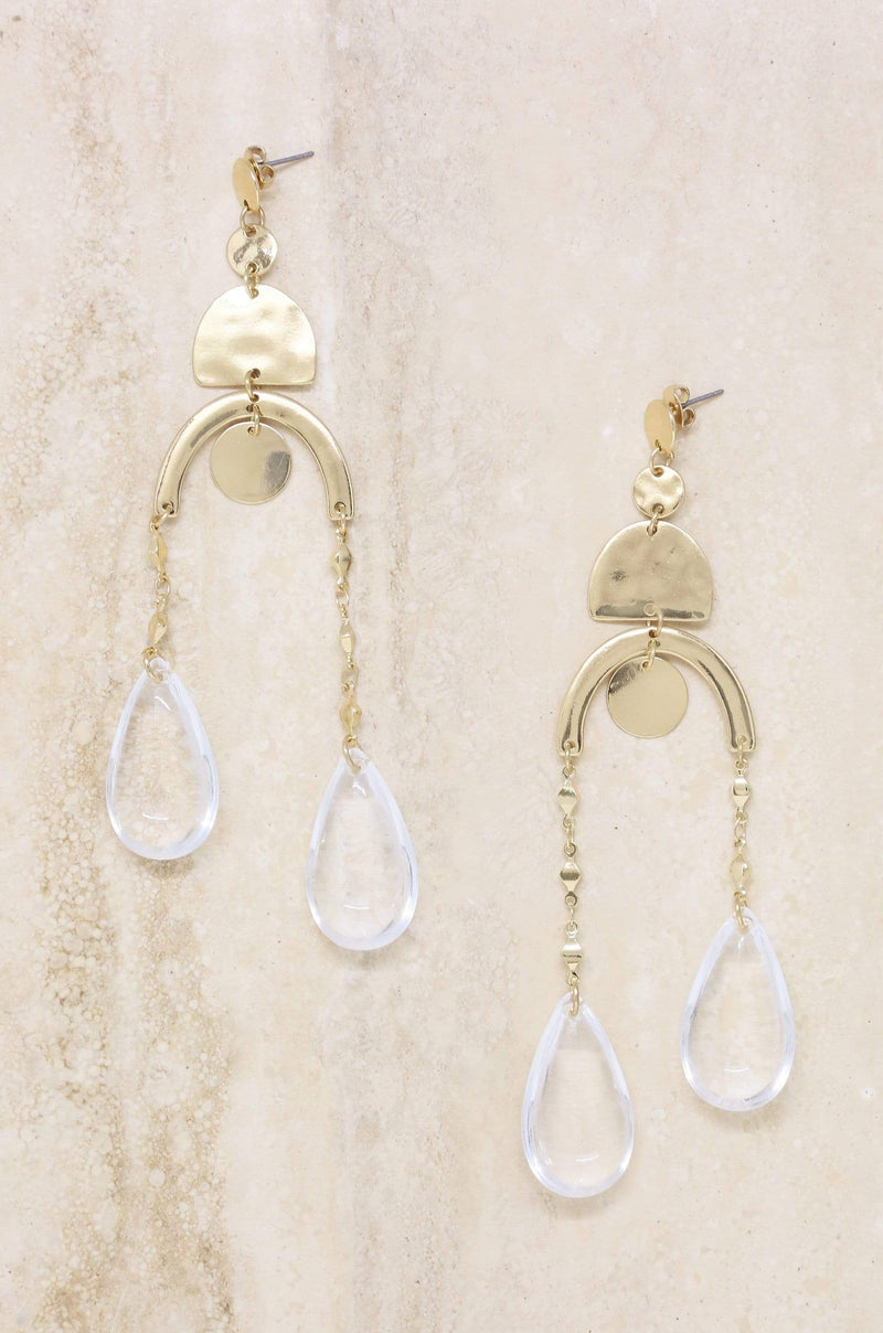Abstract Art Earrings in Clear and Gold - My Bikini Flex