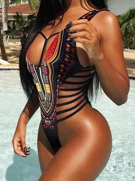 African Print Bikini Black One Piece Swimsuit - My Bikini Flex