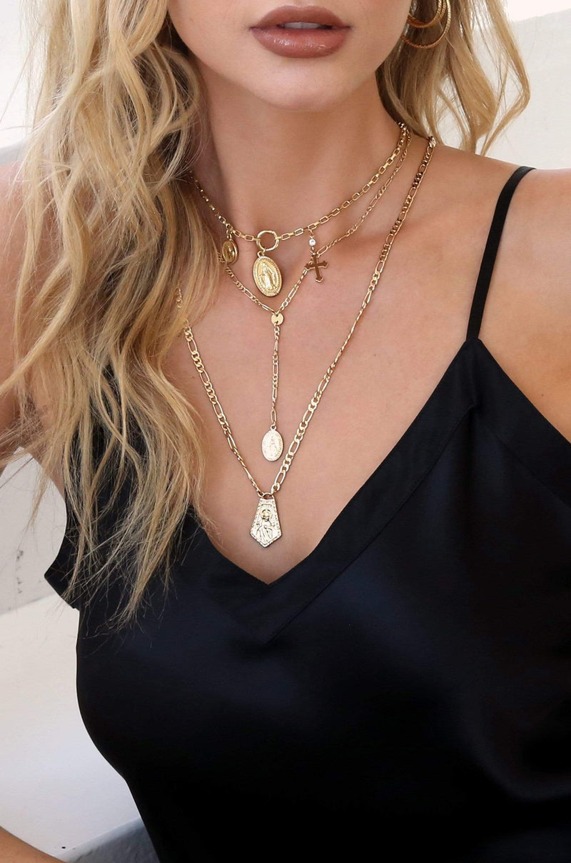 Ancient Feelings Layered Necklace Set in Gold - My Bikini Flex