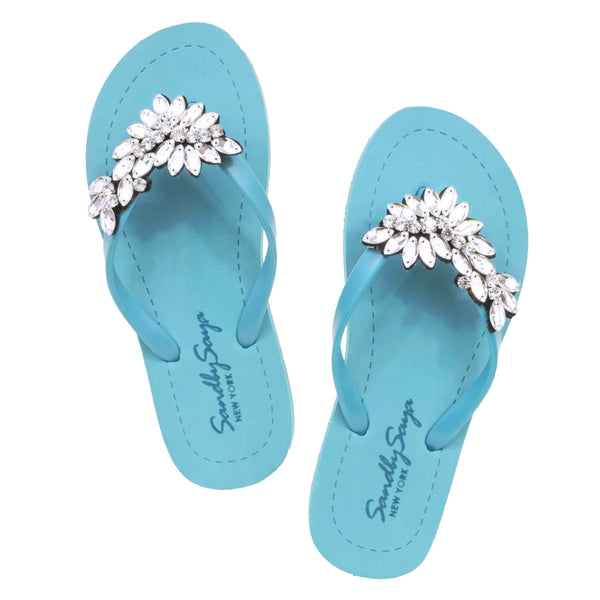 Baby Blue Handmade Flat Sandal With Crystal Flip Flop Shoe - My Bikini Flex