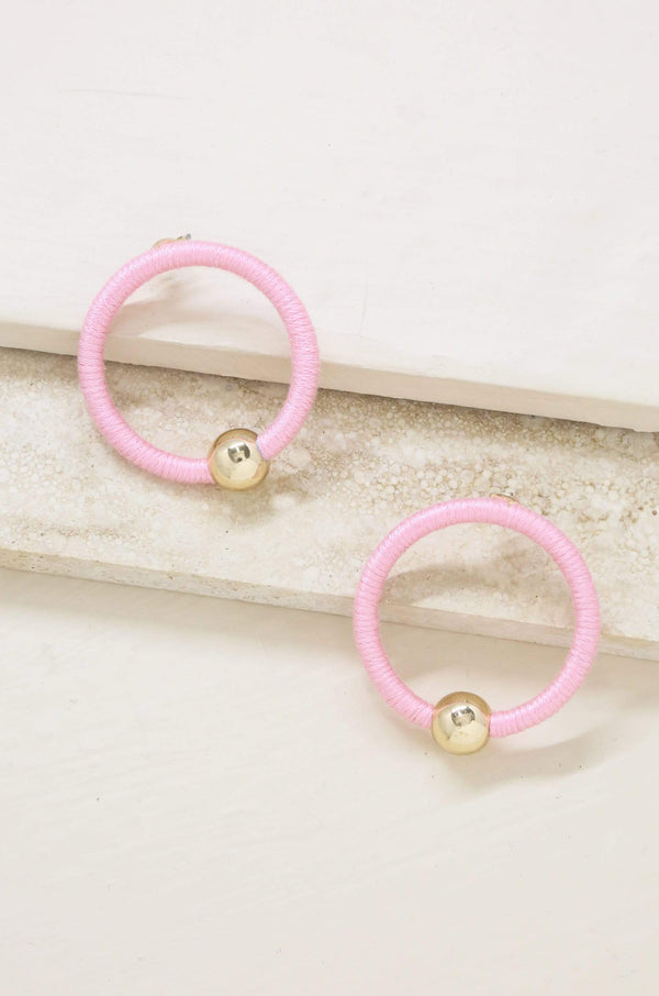 Beach Babe Hoop Earrings in Pink and Gold - My Bikini Flex