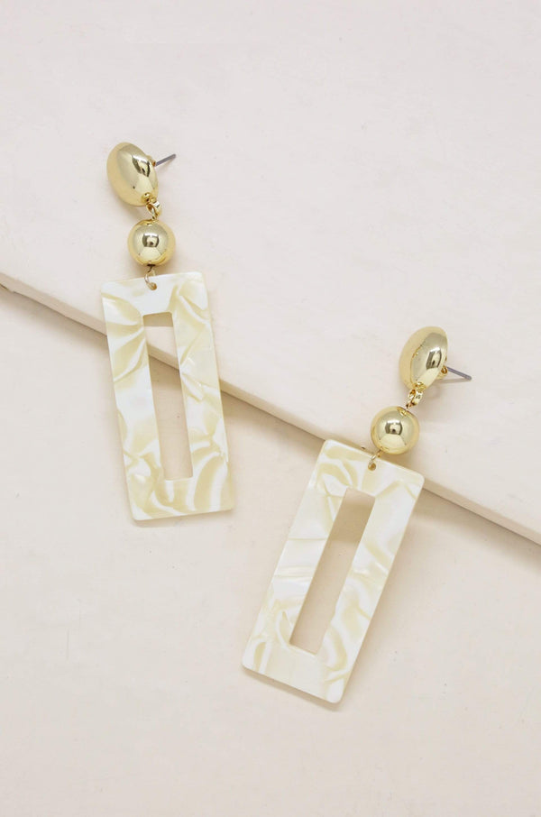 Beach Days Await Earrings in Cream Resin and Gold - My Bikini Flex