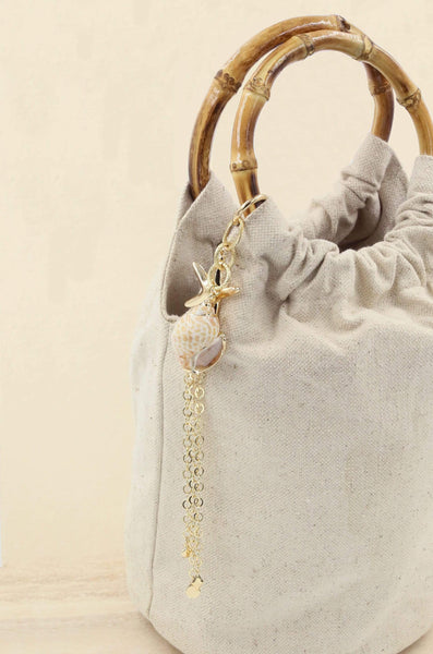 Beige Bucket Bag with Starfish & Shell Tassel - My Bikini Flex
