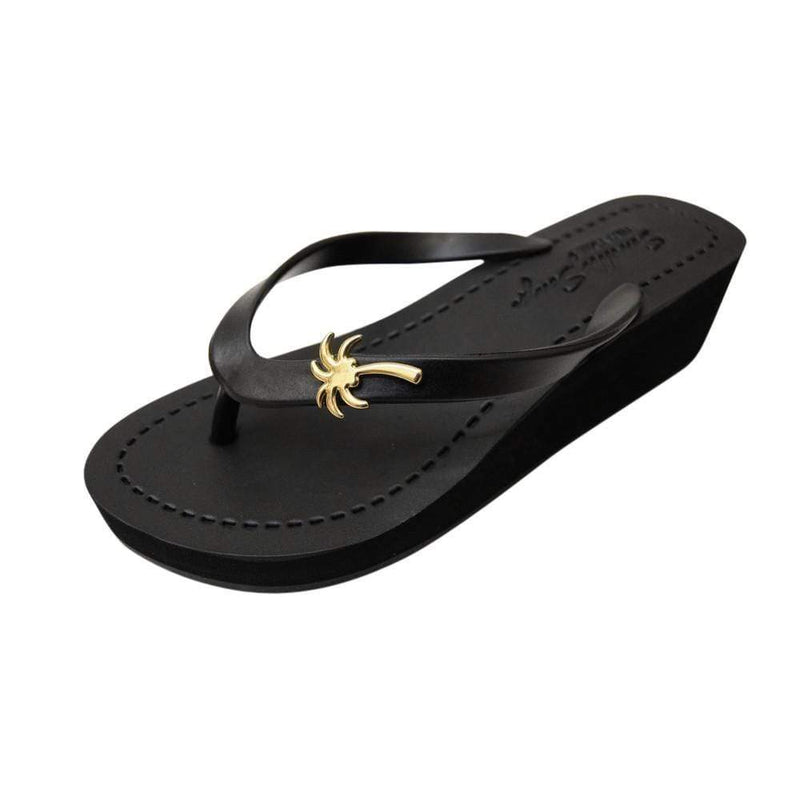 Gold Palm Tree - Women's Mid Wedge Sandal - My Bikini Flex