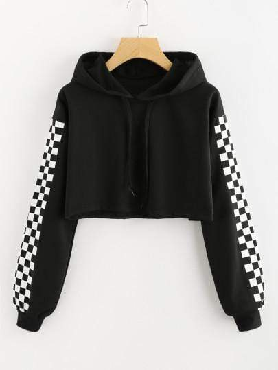 Black Contrast Checkered Crop Hoodie Sweater - My Bikini Flex
