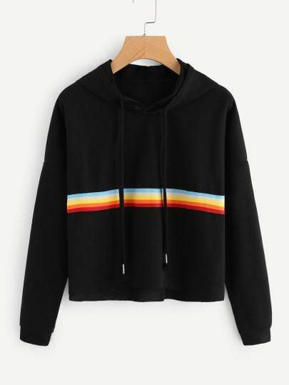 Black Contrast Rainbow Striped Raw Hem Crop Hoodie - My Bikini Flex