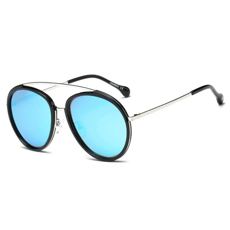 Women's Polarized Circle Round Brow-Bar Fashion Sunglasses - My Bikini Flex