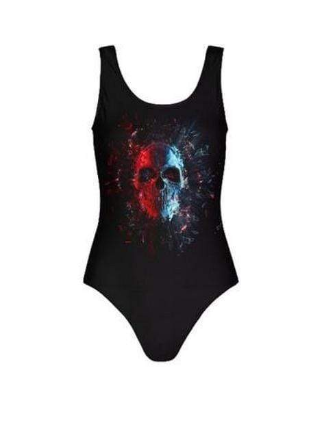Black Skull Print One Piece Swimsuit Sexy Variation Bikini - My Bikini Flex