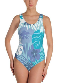 Blue Tropical Monokini One Piece Swimsuit Cheeky Bikini - My Bikini Flex