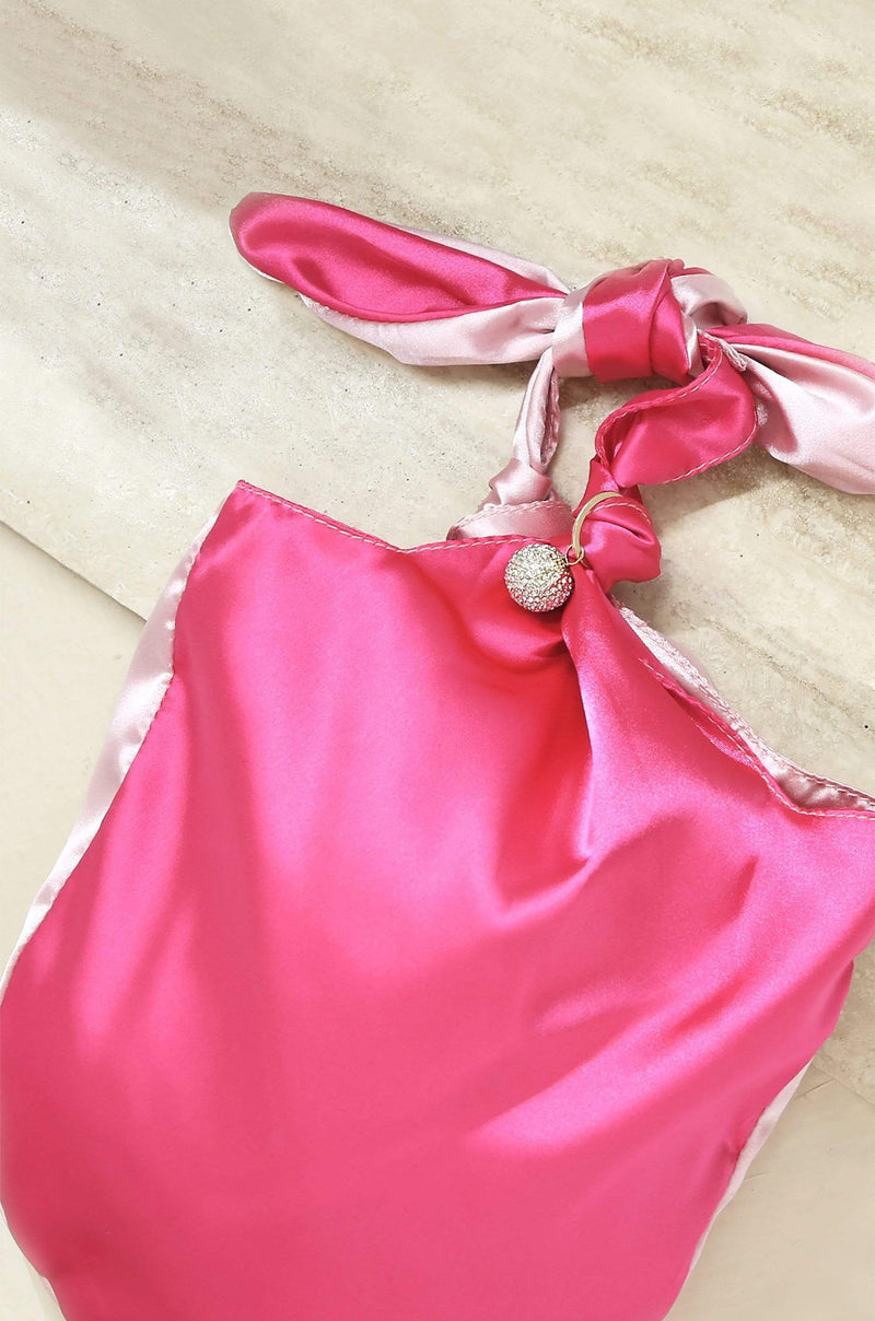 Bow Clutch Bag in Light Pink and Magenta - My Bikini Flex