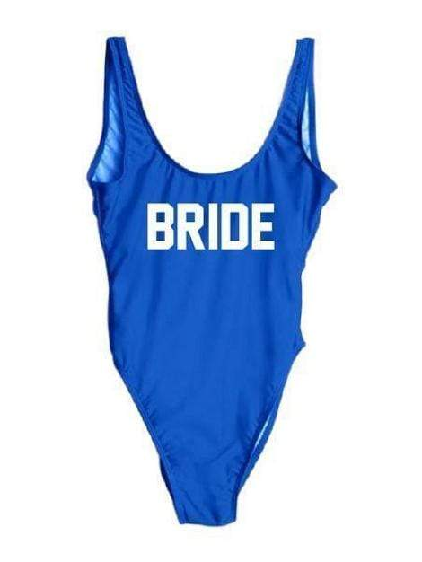 "Royal Blue Monokini Letter ""Bride"" One Piece Bikini Swimsuit - My Bikini Flex"