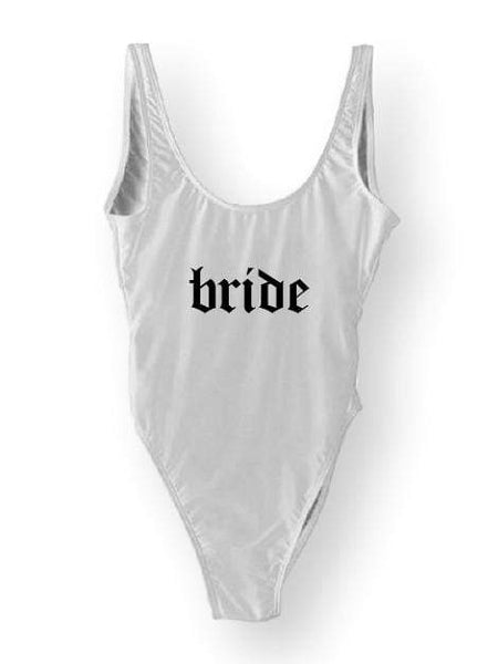 "White Monokini Letter ""Bride"" One Piece Bikini Swimsuit V2 - My Bikini Flex"