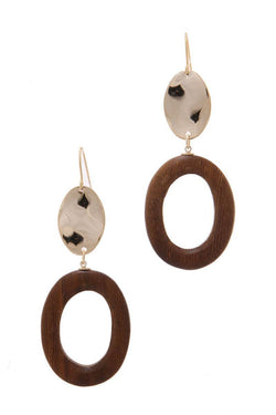 Wood Circle Shape Hammered Oval Drop Earring - My Bikini Flex