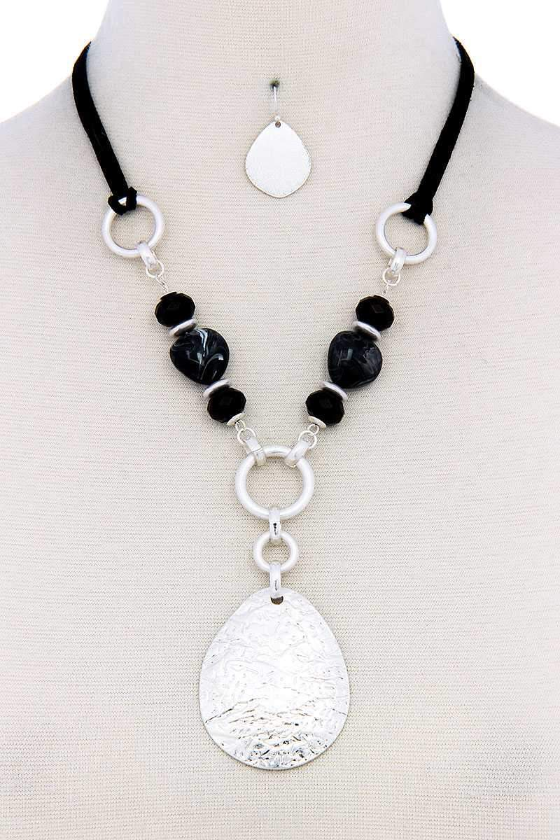 Chic Bead Fashion Pendant Necklace And Earring Set - My Bikini Flex