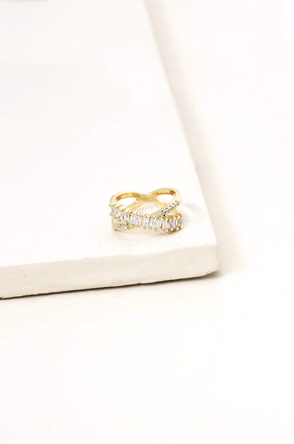 Crystal 18kt Gold Plated Eternity Ring - My Bikini Flex