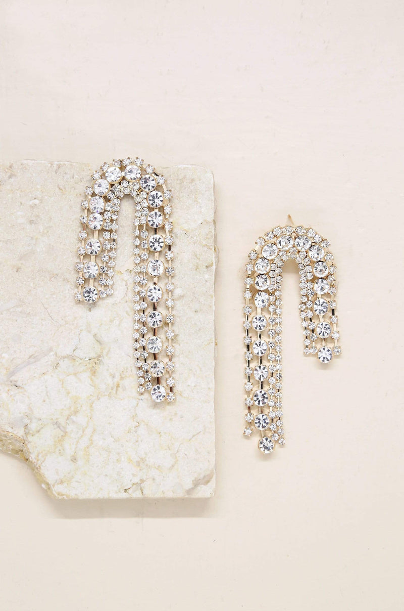 Crystal Arch Chain Statement Earrings - My Bikini Flex