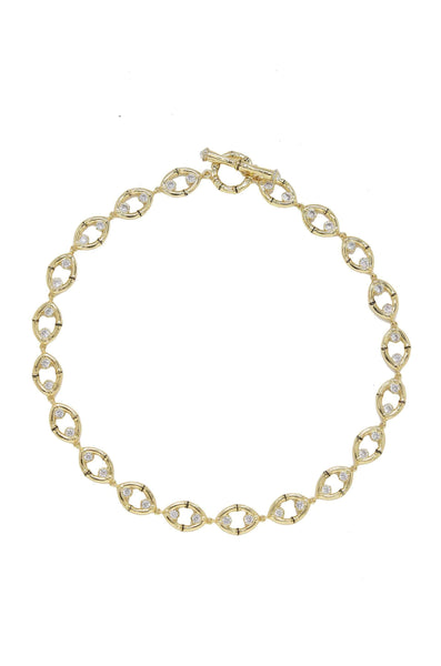 Crystal & Gold Bamboo Eyelet Collar Necklace - My Bikini Flex