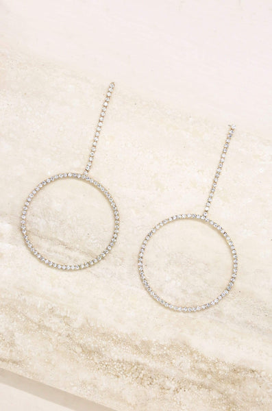 Crystal & Gold Linear Circle Drop Earring - My Bikini Flex