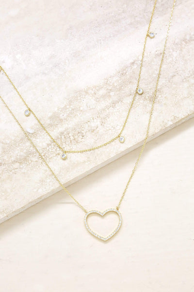 Crystal Heart & Drop Layered Necklace Set of 2 - My Bikini Flex
