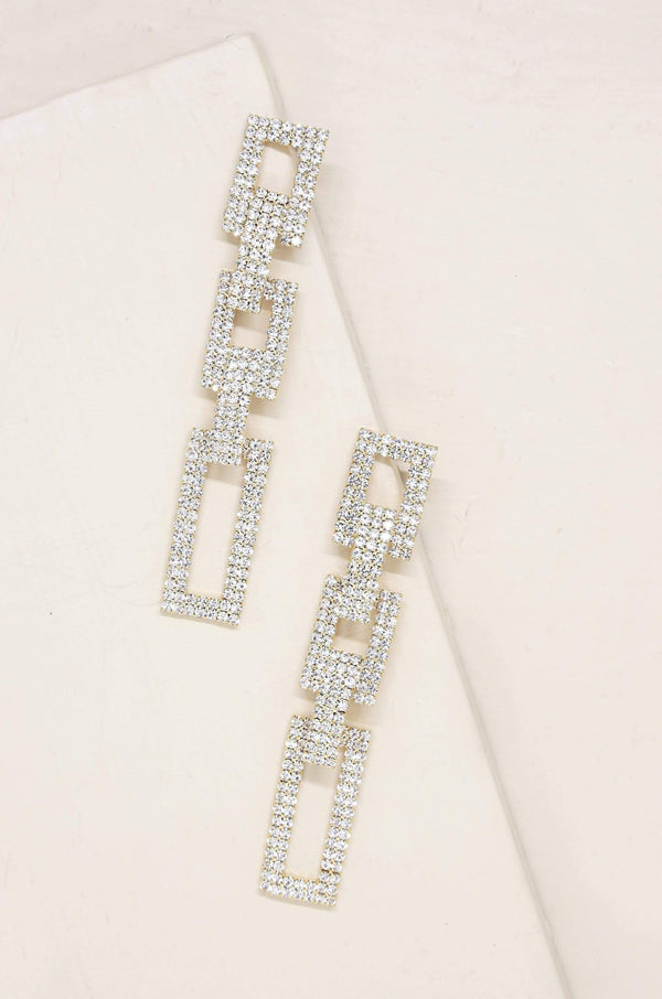 Crystal Rectangle Chain Link Earrings - My Bikini Flex