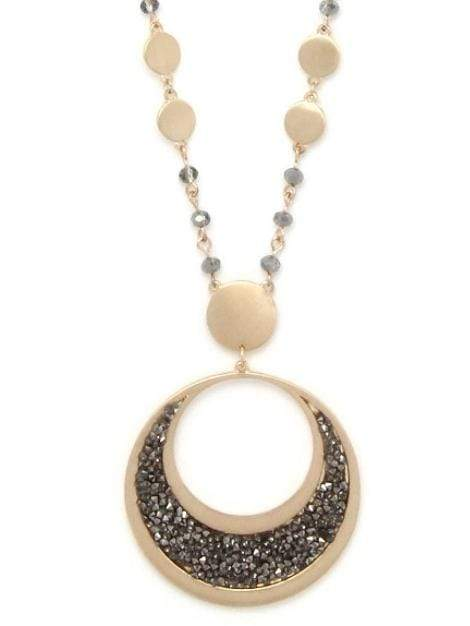 Cut Out Circle Rhinestone Pendant Beaded Long Necklace - My Bikini Flex