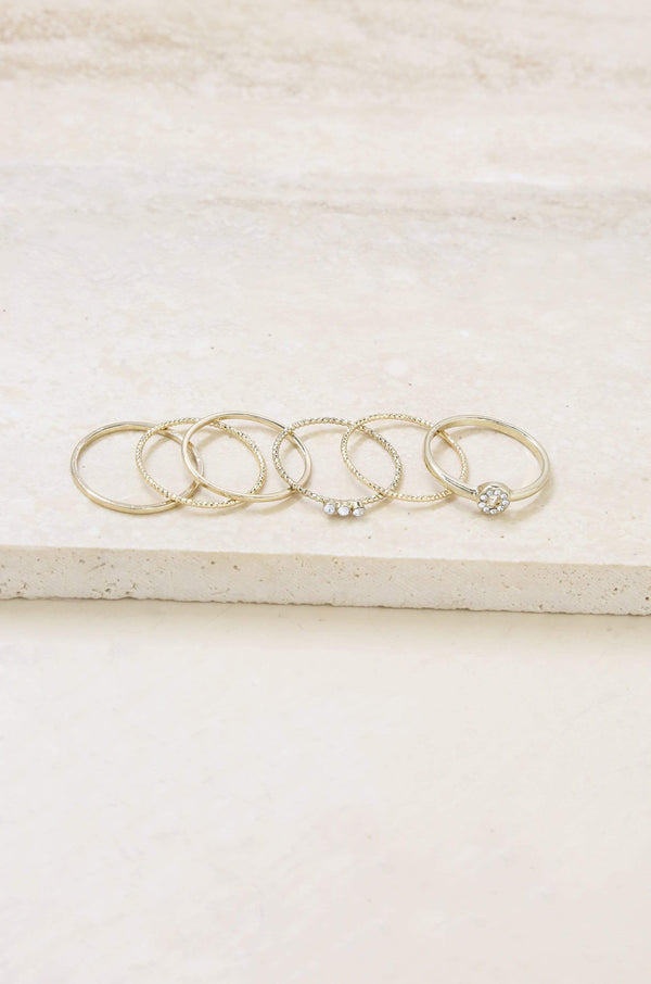 Dainty Gold Stacking Ring Set of 6 - My Bikini Flex