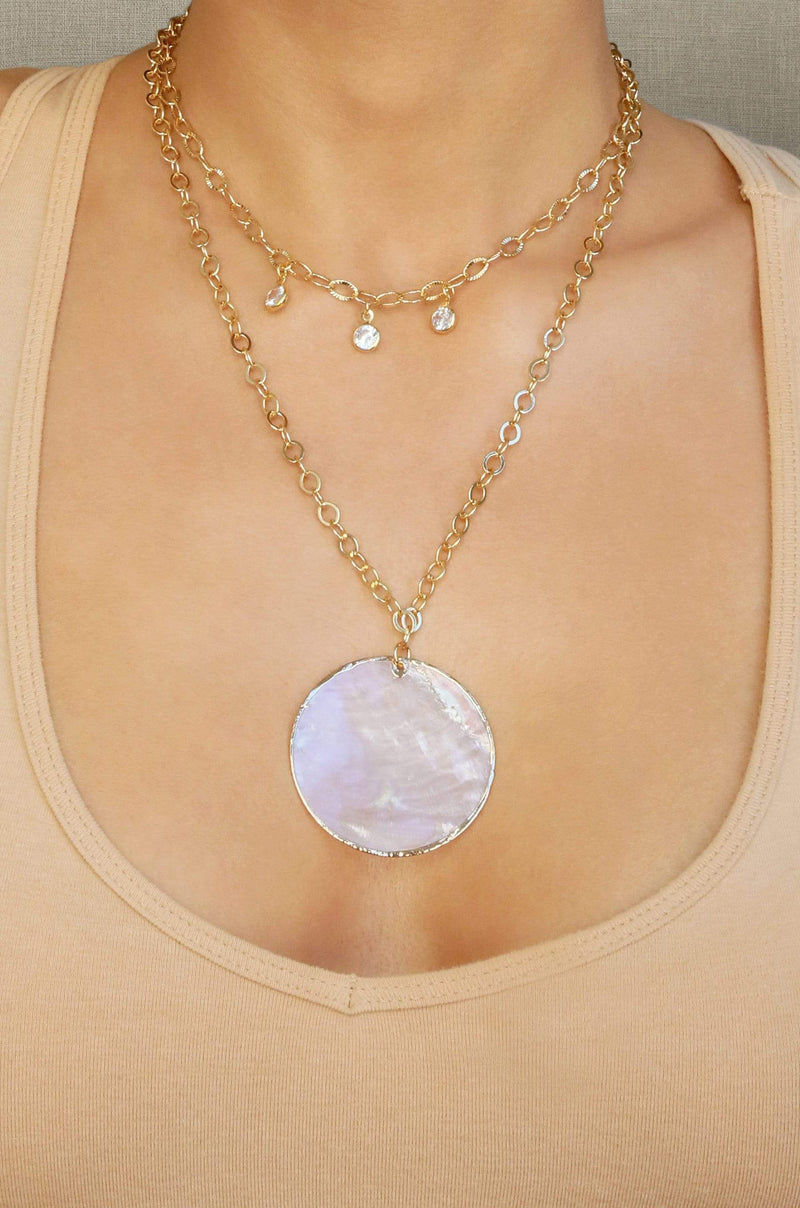 Darling Coin Shell Gold Plated Layered Necklace - My Bikini Flex