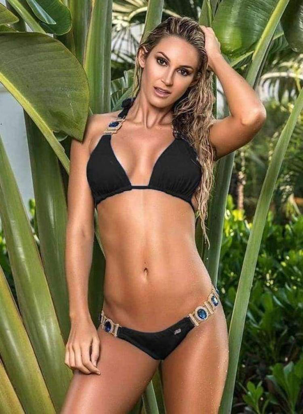 Rhinestone Black Luxury Swimsuit Halter Top With Bikini Bottom - My Bikini Flex