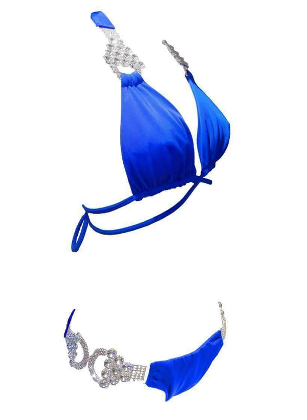 Blue Luxury Swimsuit Crystal Strap Halter Skimpy Bikini Bottom - My Bikini Flex